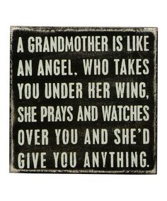 Black 'A Grandmother' Box Sign