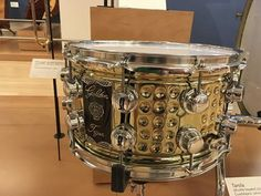 """Herch Percussion 14 x 8"""" 'Golden Tiger' snare drum manufactured in Guadalajara Mexico. On display at Musical Instrument Museum Phoenix, Arizona."""