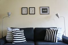 Check out this jock chic makeover on a mid-century apartment! Two siblings decorate a space that incorporates free printables as the artwork! Awesome Apartments, European Fashion, Home Decor Inspiration, Siblings, Free Printables, Living Spaces, Mid Century, Throw Pillows, Chic