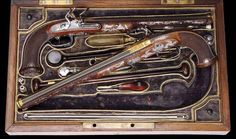 A cased pair of gold and silver inlaid flintlock pistols by the renowned French maker Nicolas Noel Boutet of Versailles, c.1805-14, which sold for $380,000 (£262,000) at an auction held by James Julia of Farifield, Maine in March 2010. Complete with original accessories, a pair of pistols of this quality would fulfil the highest aspirations of many firearms collectors.