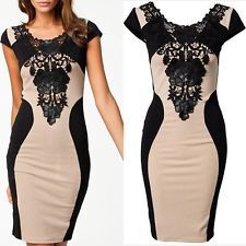 Sexy Women's Lace Short Sleeve Bodycon Dress Cocktail Evening New Elegant