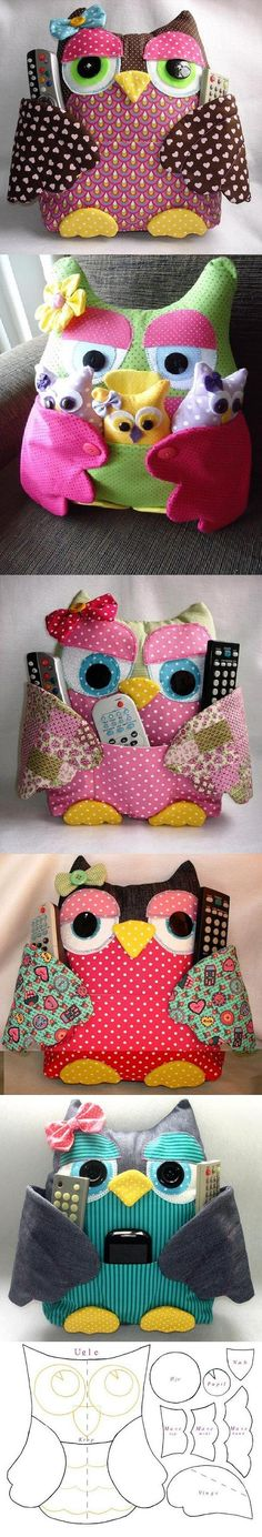 DIY Owl Pillow with Pockets.  Free pattern pieces to print, but no instructions.  Shouldn't be too hard to figure out, though.  I think I'll make pockets on both sides, one for her babies and one for my remote and phone.  The wings will wrap around either way.