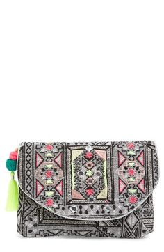 Women's Berry Metallic Embroidered Clutch with Tassel #shop