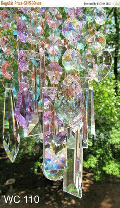 Crystal Wind Chime Crystal Sun Catcher Glass by Crystal Wind Chimes, Glass Wind Chimes, Humming Bird Feeders, Stained Glass Art, Suncatchers, Garden Art, Garden Ideas, House Warming, Mandala
