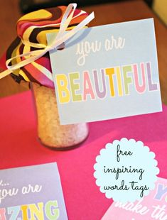 FREE Inspiring Words Tags - Great for favors, gifts, prizes (or stick them in your kids' lunches) #bridalshower #weddingshower #favors