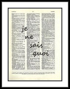 French Dictionary Art Print je ne sais quoi I Don't Know What french002