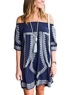 105d0efb963e GOSOPIN Bohemian Vibe Geometric Print Off The Shoulder Beach Dress One Size  Navy Dress First