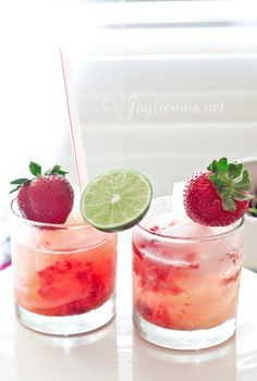 Strawberry Limeade - recipe. 8oz sparkling water, 2 oz lime juice, 6 oz strawberries, 2 oz honey