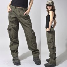 women's army cargo outdoor hiking straight mid waist sports casual overalls lovers baggy camouflage camo pants women what i picture Cinder's pants would look like! Green Cargo Pants, Cargo Pants Women, Cargo Jeans, Pants For Women, Clothes For Women, Men Pants, Baggy Pants, Camo Pants, Casual Pants