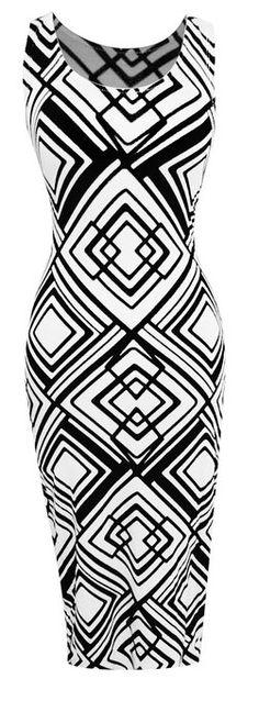 Peach Couture Damask & Print Summer Sleeveless Tank Bodycon/Maxi Dress