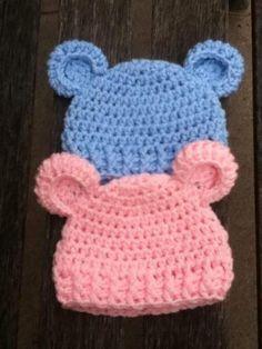 "Crochet For Children: ""Baby Bear"" Simple Baby Beanie - Free Pattern Crochet Baby Mittens, Crochet Baby Beanie, Cute Crochet, Crochet For Kids, Easy Crochet, Baby Knitting, Newborn Crochet Hats, Baby Hat Patterns, Crochet Patterns"