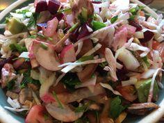 I loved this gorgeous salad! Green onions, radishes, avocado, mushrooms, cabbage, tomato, celery, beets, basil, flat leaf parsley, dressed with extra virgin olive oil, apple cider vinegar, lemon juice, sea salt, and pepper. Yum!!