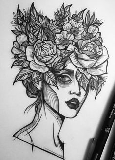 Ideas Flowers Drawns Red For 2019 Girl Drawing Sketches, Doodle Art Drawing, Cool Art Drawings, Pencil Art Drawings, Tattoo Sketches, Tattoo Drawings, Girl Sketch, Drawing Ideas, Pen Art