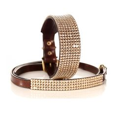 Large Crystal 8 Row Dog Collar (Golden Shadow/Brown): The Classy Dog - Designer Dog Collars, Luxury Dog Beds