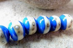 Blue Ivory & Silver Handmade Lampwork Glass Beads @Etsy £8.00