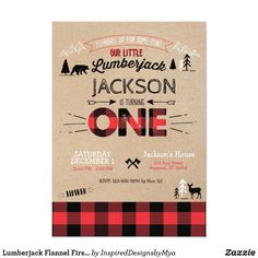 Shop Lumberjack Flannel First Birthday Invitation created by InspiredDesignsbyMya. Personalize it with photos & text or purchase as is! First Birthday Winter, Fall Birthday, 1st Boy Birthday, First Birthday Parties, Birthday Party Themes, First Birthdays, Birthday Cards, Birthday Gifts, Create Your Own Invitations