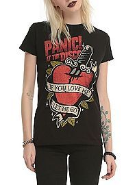 At The Disco Tattoo Heart Girls T-Shirt from Hot Topic. Shop more products from Hot Topic on Wanelo. Neo Grunge, Grunge Style, Style Indie, Emo Style, Soft Grunge, Rock Chic, Rock Style, Glam Rock, Tokyo Street Fashion