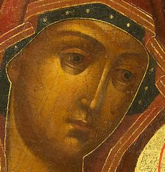 Detailed view: D019. Virgin of Smolensk- exhibited at the Temple Gallery, specialists in Russian icons