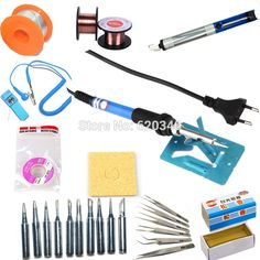60w Adjustable Temperature Electric Solder Soldering Iron Repair Welding kit SET Tweezers/Solder tip 220 or 110v #hats, #watches, #belts, #fashion, #style