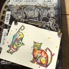 Kassa Hayselden: coloring Crazy Cats - Stampers Anonymous CMS251