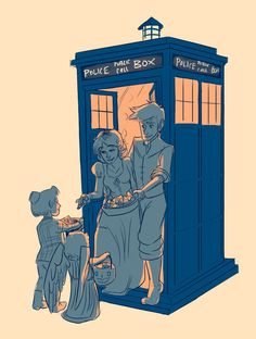 Doctor Who Trick or Treat - 10 and Rose as Flynn and Rapunzel; And the trick or treaters are 11 and a weeping Angel.