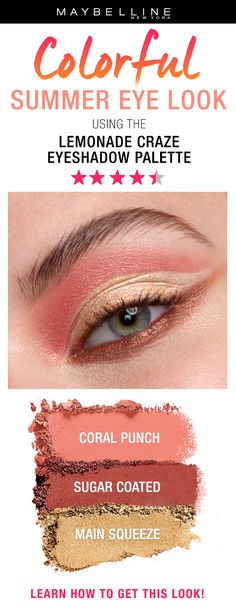 Achieve a yellow eye makeup look with Lemonade Craze Eyeshadow Palette by Maybelline. Creamy eyeshadow palette with highly pigmented colors and citrus scent. Coral Eyeshadow, Summer Eyeshadow, Eyeshadow Looks, Eyeshadow Palette, Makeup Inspo, Makeup Inspiration, Makeup Tips, Beauty Makeup, Hair Makeup