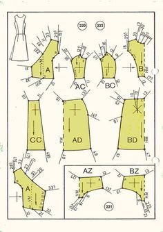 1950s dress and swimsuit pattern draft 9