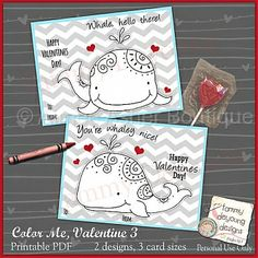 Printable Whale Valentine Cards for Kids :: Valentine's Cards :: Printable Cards :: Aimee Asher Boutique