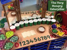 Awesome The Very Hungry Caterpillar book ideas and math activities from Stimulating Learning with Rachel. Maths Eyfs, Eyfs Activities, Nursery Activities, Spring Activities, In Kindergarten, Preschool Activities, Learning Activities, Preschool Alphabet, Preschool Learning