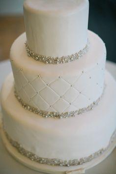 Britta Marie Photography; Classic Black Tie Illinois Wedding Shot by Britta Marie Photography - white wedding cake.