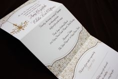 Gold & Brown Chandelier and Ornate Pattern Vertical Trifold Wedding Invitations Tri Fold Wedding Invitations, Party Invitations, Invite, Wedding Cards, Rsvp, Dots, Pattern, Card Card, Model