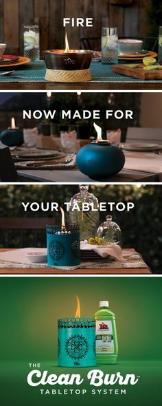 Less smoke. Brighter flame. It's the evolution of fire. The Clean Burn Tabletop System is fire made for your tabletop. Learn more at tikibrand.com/fire.