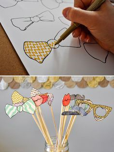 Have them on at tables with colored pencils. Let guests make their own for the photo.