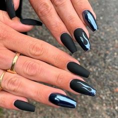 chrome nails If you want to try something new, why not opt for matte black nails? This design looks really extraordinary. See our matte black manicure ideas. Black Manicure, Black Acrylic Nails, Black Coffin Nails, Matte Black Nails, Black Nail Art, Best Acrylic Nails, Black Acrylics, Black Nails Short, Long Nail Art