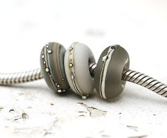 Large hole glass beads  Classic Grey  handmade by MayaHoney, $16.00