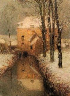 Henri Eugène Augustin Le Sidaner (1862-1939), The Canal, Snow.