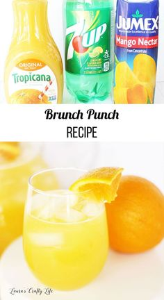 Brunch punch recipe - delicious non-alcoholic orange juice based punch perfect for bridal and baby showers Quick and easy recipe for a delicious orange punch recipe perfect for brunch. It is more fun than just simple orange juice. Brunch Punch Non Alcoholic, Alcoholic Punch Recipes, Easy Punch Recipes, Brunch Drinks, Fruit Drinks, Yummy Drinks, Healthy Drinks, Yummy Food, Drinks Alcohol