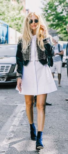 shirt dress. military style jacket.