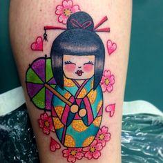 ✨✨こけし #japanese #kawaii #kokeshi #doll #tattoo #tattoos #girlytattoos #cherryblossoms