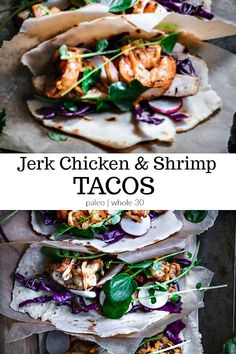 If you're looking to spice up your dinner, try these jerk chicken and shrimp tacos! They're sure to add a burst of flavor to your dinner. If you're strictly paleo, you can also find a speedy recipe for making your own cassava tortillas! Click to read on! #cassavatortillas, #shrimptacos, #chickentacos, #jerkchickentacos, #jerkshrimptacos, #jerkseasoning, #jamaicanjerk, #calmeats, #paleotacos, #whole30tacos, #whole30, #paleo, Paleo Jerk Chicken, Chicken And Shrimp, Paleo Chicken Recipes, Seafood Recipes, Paleo Recipes, Free Recipes, Easy Recipes, Whole30 Dinner Recipes, Paleo Dinner