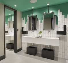 Bathroom Tile Idea – Stagger The Tiles Instead Of Ending In A Straight Line. Love the way the mirrors are fastened.