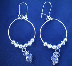 Cute owl hoop earrings, Swarovski crystal earrings, Antique silver owl charms, bird charms, bird earrings, dangle earrings, boho jewellery