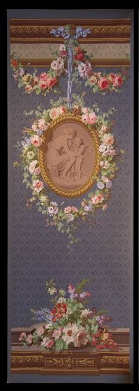 """A rare pair of French wallpaper panels from the décor """"Gobelins"""" entitled, """"L'Amour Gronde"""" and """"L'Amour Grondant"""". The panels were wood-block printed on a blue background. The décor was first manufactured by Zuber in 1866. The design was inspired by Boucher."""