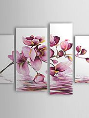 Oil Paintings Set of 4 Modern Abstract Purple Flowers in Water Hand-painted Canvas Ready to Hang
