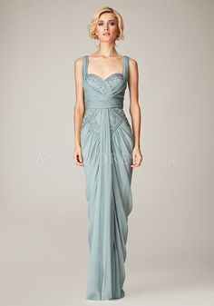 Floor Length Sheath/ Column Straps Chiffon Sleeveless Evening Dresses With Beading