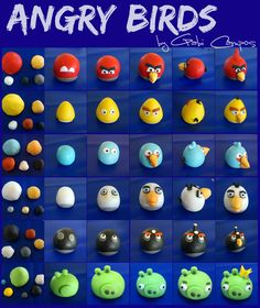 By Gabi Campos angry birds tutorial Torta Angry Birds, Cumpleaños Angry Birds, Clay Projects, Clay Crafts, Diy And Crafts, Crafts For Kids, Cake Topper Tutorial, Fondant Tutorial, Bird Birthday Parties