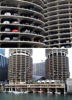 Aparcamientos de planta superior del complejo de edificios Marina City, en Chicago, Estados Unidos