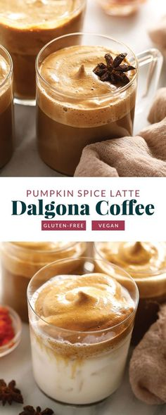 Give this pumpkin spice dalgona coffee a try. It is made with instant coffee, sugar, water, pumpkin spice, and pumpkin puree!