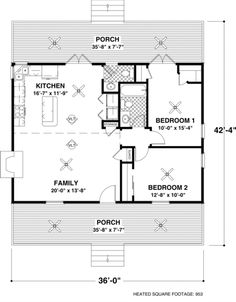 Floor plan 953 sq ft, one story 2 bedrooms nice layout