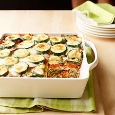 Three scrumptious cheeses and an array of fresh vegetables make this lasagna equally filling and delicious.
